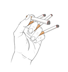 Hand holding 4 cigarettes vector