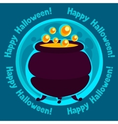 Happy halloween greeting card with moon and pot of vector image
