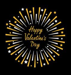 happy valentines day fireworks star sparkle set vector image