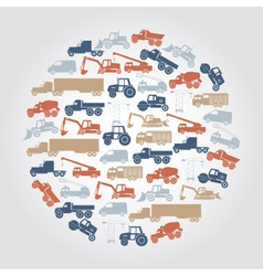 Heavy machinery various color icons in circle vector