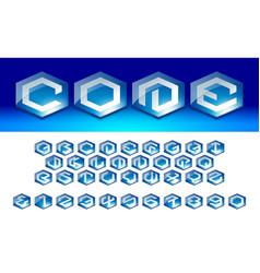 hexagon font 1 vector image