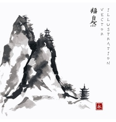 High mountains with pagodas hand-drawn with ink vector