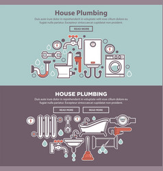House plumbing web poster with tubes and bath vector