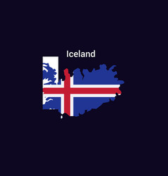 Iceland initial letter country with map and flag vector