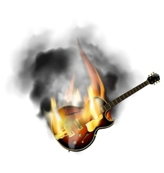 jazz guitar in the fire and smoke vector image