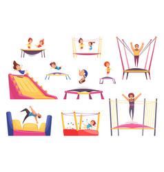 Jumping trampolines essentials set vector