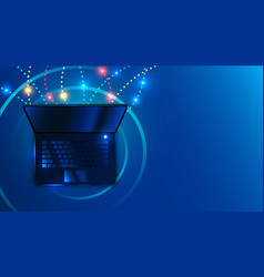 laptop on space blue background futuristic cyber vector image