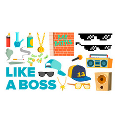 Like a boss icons rapper gangster cool vector