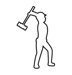Line pictograph laborer with mallet equipment vector