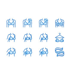 lingerie flat line icons set bra fitting breast vector image