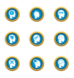 Mental freedom icons set flat style vector