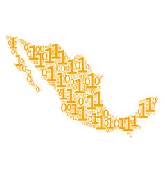 Mexico map collage of binary digits vector