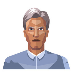 Older man with grey hair on white background vector