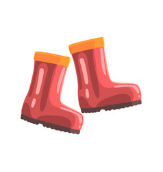 Pair of red rubber boots cartoon vector