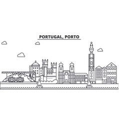 Portugal porto architecture line skyline vector