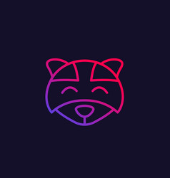 Raccoon logo line icon vector