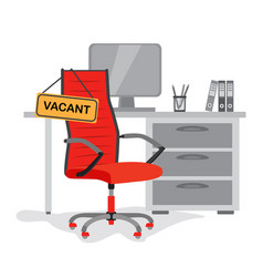 red office chair with sign vacant on the vector image