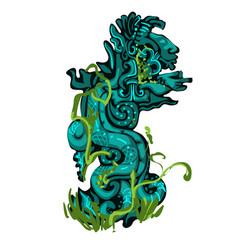 Sacred totem overgrown plants symbol vector