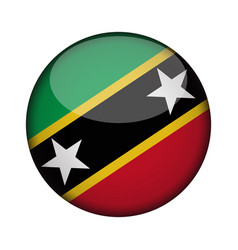 Saint kitts and nevis flag in glossy round button vector