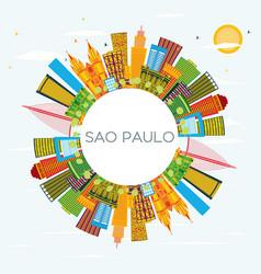 sao paulo brazil city skyline with color vector image