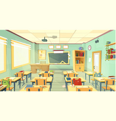 School classroom interior university vector