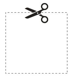 Scissors square cut line vector