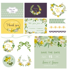 Scrapbook Design Elements - Wedding Spring Flower vector image