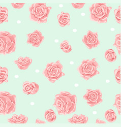 Seamless pattern with pink and white roses vector