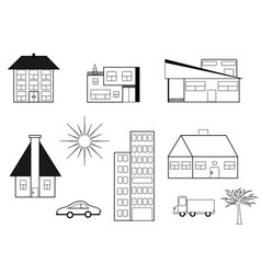 Set of buildings vector