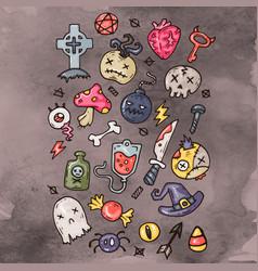 set of cartoon happy halloween icons halloween vector image