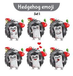 Set of cute hedgehog characters set 1 vector