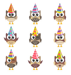 set of funny owls with birthday hats vector image