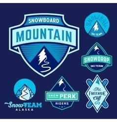 set ski snowboard snow mountains sport logos or vector image
