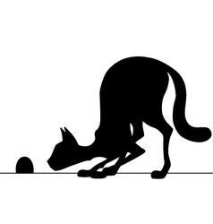Silhouette cat watching a mouse vector
