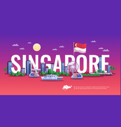 singapore panoramic view vector image
