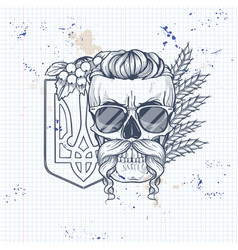 skull with ukrainian symbols vector image