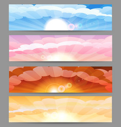 sky with sun and clouds banner set vector image