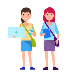 stylish school girls with handbags over shoulder vector image
