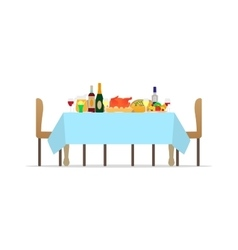 Table for festive holiday romantic dinner vector