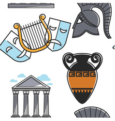 theatrical masks and gladiator helmet amphora and vector image