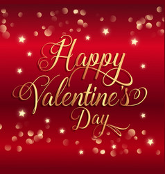 Valentines day background with gold stars and vector