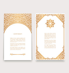 Vintage cards with gold border pattern vector