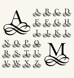 Vintage set capital letter for monograms vector