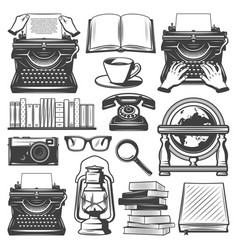 Vintage writer elements set vector