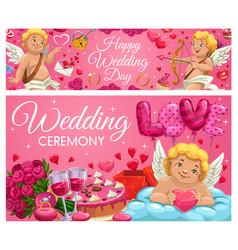 Wedding ceremony calligraphy hearts love cupids vector