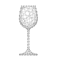 wine glass one from abstract futuristic polygonal vector image