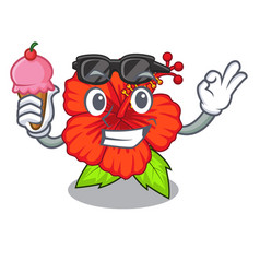 With ice cream flower hambiscus in a cartoon pot vector
