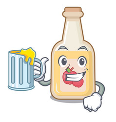 with juice apple cider in character shape vector image