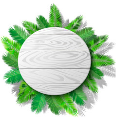Wooden circle and palms vector