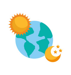 world planet earth with sun and moon vector image